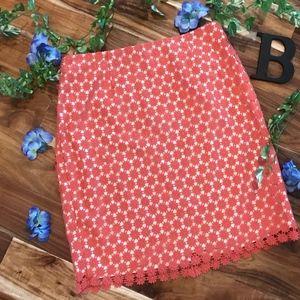 Talbots Woman Skirt Plus sz 14W Salmon Floral Lace